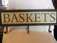 Baskets Wooden Antique Finish Sign With 3 Hooks For Coats, Hats