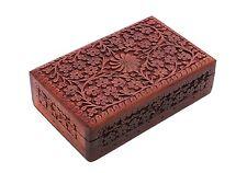 Store Indya Exotic Hand Carved Wooden Jewelry Trinket Box Keepsake Storage with