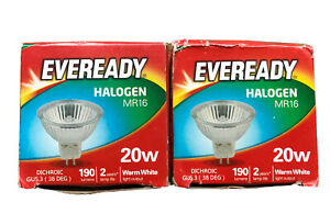 2 PACKS OF EVEREADY HALOGEN MR16 20W WARM WHITE 190 LUMENS DIMMABLE NEW