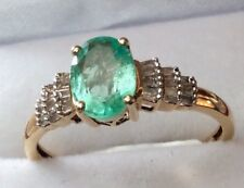 Columbian Emerald & Baguette Diamond 9ct Gold Ring.  1.75 cts. (Size W). New