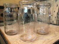 3 Pint Milk Cream Jars Queensboro Farm Long Island New York Jar Dairy Bottle