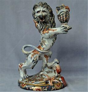 SAINT-CLEMENT Bougeoir Lion Héraldique Faïence Epoque Emile Gallé ca 1880
