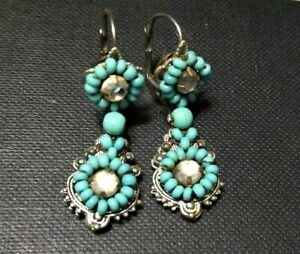 Turquoise Beaded Earrings Clear Crystal