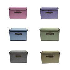 Cotton & Linen Storage Box Folding Organizer Bin Basket Drawer Container