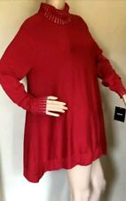 NWT ALFANI RED LONG SLEEVE  TURTLENECK TUNIC SWEATER  WITH CRYSTAL STUDS SZ XL