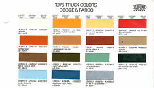 1975 DODGE TRUCKS VAN PICKUP FARGO 75 PAINT CHIPS DUPONT