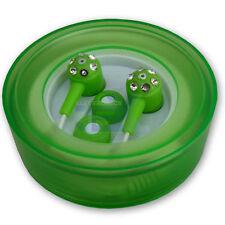 Jewel/Jeweled Green Silicon Earbuds Earphones w/ Hard Case Crystal Diamond Look
