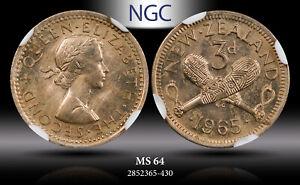 1965 NEW ZEALAND 3 PENCE ELIZABETH II NGC MS64