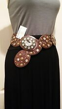 """BOHEMIAN STYLE FAUX LEATHER BRONZE COLOR BELT RHINESTONE & METAL BUCKLE 34"""" NWT"""