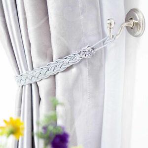 2 PCS Curtain Tie Backs Braided Satin Rope Curtain & Voile Tiebacks Holdbacks