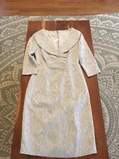 New Nwt Kay Unger Tiger Embossed Beige Ruched Sheath Dress Formal Cocktail 2