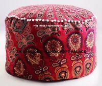 Indisch Hocker Ottomane Mandala Sitzkissen Schemel Rund Puff Boden Kissenbezug