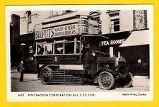 Bus Postcard ~ Portsmouth No 10 in 1925 - Thornycroft D/D - Pamlin Prints M52
