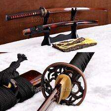 Red Damascus Japanese Samurai Katana Full Tang Sword Folded Steel Sharp Blade