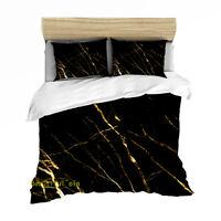 Black Marble Queen/Single/Double/King Bed Quilt Doona Duvet Cover Set Linen