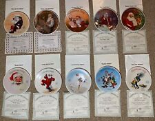 Knowles Norman Rockwell Santa Christmas Collector Plates Lot of 10 Plates 83-91+