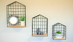 3pc Black Metal Wire Wall Shelving Unit Industrial Floating Vintage Shelf Home