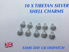 10 x Silver Plated Multi Rhinestone Seashell Shell Charms Pendants Brand New
