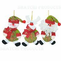 3 Pcs Soft Teddy Novelty Christmas Tree Hanging Decorations Xmas Decor Ornaments