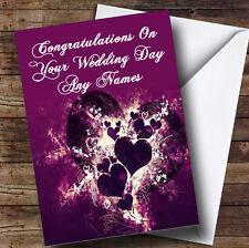 Corazones PÚRPURA y remolinos romántica boda personalizada día tarjeta de saludos