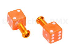 Porkchop DICE bicycle brake cable end tips crimps (PAIR)  - ORANGE w/ WHITE pips