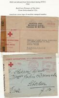 # 1941/44 2 TO/FROM SWITZERLAND WW2 CENSORED RED CROSS COVERS CROIX ROUGE GENEVA