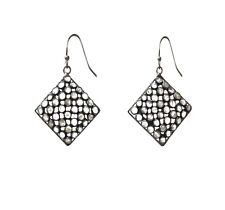 925 Sterling Black Silver Plated Square Checkered Cubic Ziraconia Hook Earrings