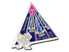 "OFFICIAL LICENSED LONDON 2012 OLYMPIC GAMES PIN / BADGE ""SWIMMING"" DAY #3"