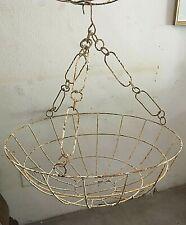 "Vintage Basket Planter Wrought Iron Round Hanging Porch Flower Fern Rustic 30""W"