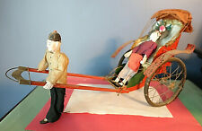 Antique CHINESE TIN RICKSHAW TOY w/2 FIGURES,CANVAS AWNING,RUBBERIZED WHEELS