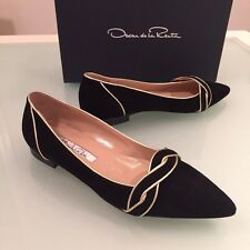 OSCAR DE LA RENTA LINDSEY BLACK TRIMMED SUEDE FLAT SZ EU 36.5/ US 6.5 NEW IN BOX