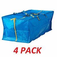 NEW IKEA 4 X LARGE BLUE FRAKTA ZIPPERED TOTE STORAGE LAUNDRY BAG FREE SHIPPING