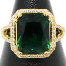 Vintage Antique Green Emerald Ring Women Jewelry 14K Yellow Gold Size 5 6 7 8 9