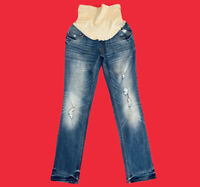 INDIGO  BLUE ... Maternity Distressed Slim Skinny Blue Jeans ... Size  S ... NEW