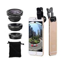 Wide Angle 180° Fish Eye Macro Clip Camera Lens Kit for Smart Phone NEW
