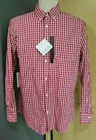 NWT Tricots St. Raphael Men's Long Sleeve Red White Plaid Gingham Shirt MSRP $65