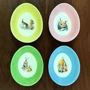 Williams Sonoma NOSTALGIC EASTER Egg Shaped Ramekin Bowls Set of 4 Rabbits