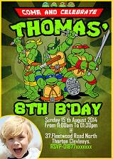 Personalised boys Birthday Party Invitation teenage mutant ninja turtle,Tmnt x8