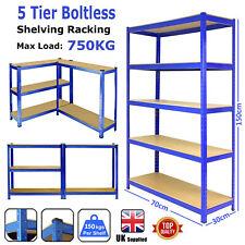 Heavy Duty 5 Tier Metal Shelf Home Storage Shelving Unit Shelves Rack Racking UK