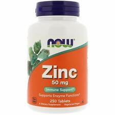 Now Foods Zinc 50 mg 250 Tablets Free Shipping