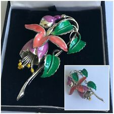 Vintage Jewellery Exquisite July Fuchsia Flower Birthday Brooch Pin