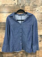 Zac & Rachel Women's Chambray Pintuck Popover Button Up Top Size XL