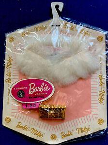 1962 Vintage Barbie Rabbit White Fur Cape and Purse  NRFP Japan