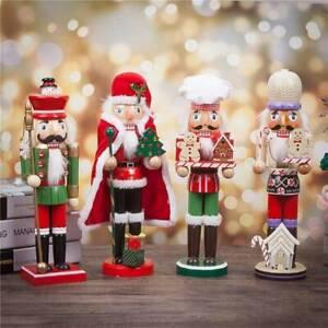 35cm Vintage Wooden Nutcracker Doll Soldier Home Christmas Party Decor Ornaments