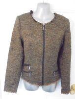 ❤ GHARANI STROK LONDON Size 10-12 Brown Teal Smart Jacket Blazer Tweed Style