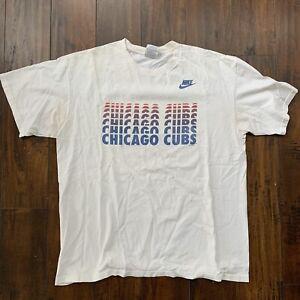 Nike Chicago Cubs MLB Baseball Sports Illinois Promo Rap Vintage T Shirt 90s 80s