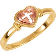Heart & Cross Ring In 10K Yellow & Rose Gold