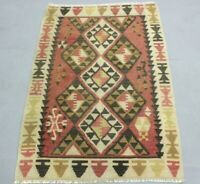 Turkish Motif Hand Knotted Cappadocia Kilim Rug Vintage Ethnic Wool Carpet 3x5ft