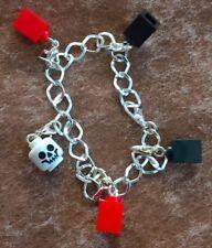 "BRAND NEW Goth Lego Charm Bracelet app. 18cm/7"" Skull and Bricks GREAT GIFT"