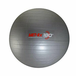 "Met-Rx 180 Grey Fitness Exercise Ball Yoga Core Workout 18"" w Pump"